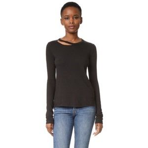 Pam & Gela | Black Long Sleeve Slash Cut Out Tee